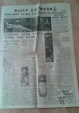EXPRESS NEWSPAPER WORLD WAR 2- Dec 4th 1944. Patton gets tanks over the Saar.