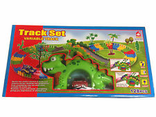 128 pcs LARGE VARIABLE TRACK WITH DINOSAUR TRACK- BUILD YOUR OWN TRACK-PLAY SET