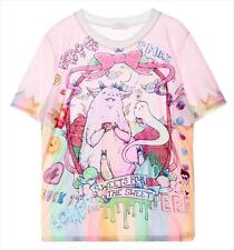 2015 Pink Lovely  MELTED ICE CREAM  HAIRY MONSTER Cartoon T shirt  Short Sleeves