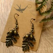 Oak leaf acorn earrings bronze woodland autumn boho