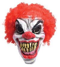 MENS HALLOWEEN SCARY CIRCUS CLOWN FULL FANCY DRESS COSTUME MASK & RED HAIR NEW