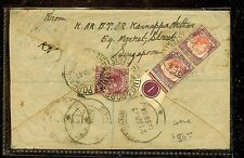 MALAYA SINGAPORE (P1012B) 1949 KGVI 40C BIG PERF CONTROL PR+10 ON REG COVER