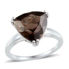 4.5ct BRAZILIAN SMOKY QUARTZ trillion cut Solitaire Ring 925 Sterling Silver R