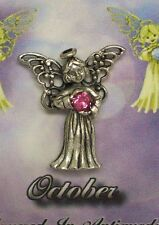 October Guardian Angel Pin Birthstone Antiqued Silver Plated Message Miracles