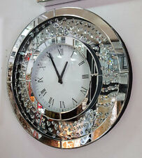 Modern Floating Crystals Bevelled Mirror Glass Round Wall Clock 50cm Silver 201B