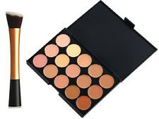 15 Colours Contour Cream Concealer Camouflage Palette+Angled Brush 1049-GOLD #2