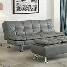 Coaster 500096 Dilleston Sofa Bed Futon Grey Faux Leather Upholstery