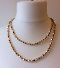 1960's Vintage Faux Gold Plastic Faceted Small Round Bead Necklace