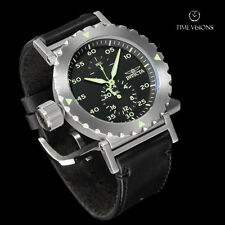 Invicta Men's 52mm I-Force Black Dial Green Highlight Quartz Leather Strap Watch