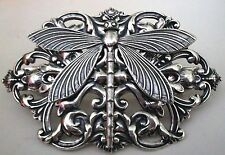 Stunning STERLING SILVER PLTD Victorian DRAGONFLY French Hair Clip BARRETTE