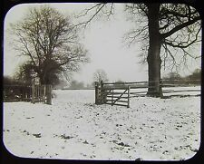 Glass Magic Lantern Slide GATE TO A FIELD C1890 PHOTO SNOW WINTER SCENE