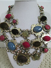 NWT Auth Betsey Johnson Woodland Forest Multicolor Flower Bib Statement Necklace