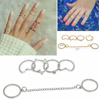 5pcs/Set Rings Urban Gold stack Crystal Cute Above Knuckle Ring Band Midi Ring