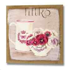 Shabby Chic Vintage Style - Floral Pansy with Jug Canvas Picture
