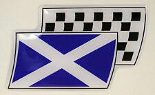 Scotland Scottish Flag Resin Domed Chequered Decal / Gel Sticker Car / Bike