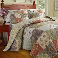 BEAUTIFUL XXL COTTAGE COUNTRY GREEN PINK ROSE PATCHWORK BEDSPREAD QUILT SET KING
