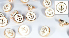 12 Die Cast Metal Shirt/Blouse Buttons GB38001 White Enamel/Gold Anchor ø11.5mm
