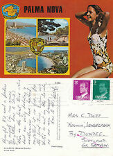 1980's MULTI VIEWS OF PALMA NOVA MALLORCA SPAIN COLOUR POSTCARD