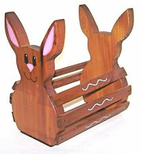 Vintage Hand Crafted Wood Bunny Rabbit Table Condiment Caddy Carrier Rack