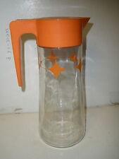Vintage Anchor Hocking Retro ATOMIC Orange STARBURST Diamond TANG Juice Pitcher