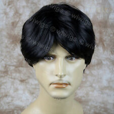 Layered Long Bangs Cool Man Wig Short BLACK Men's Full Wigs from WIWIGS UK