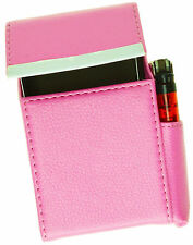 Baby Pink CIGARETTE Hard Case pouch Leather Flip Top Lighter Holder Men Women