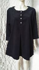 Deerberg by Oska black cotton thin corduroy dress tunic with pockets size L