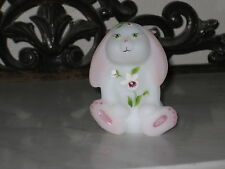 FENTON ART GLASS HP OPAL SATIN LOP EARED BUNNY RABBIT FIGURINE  LE
