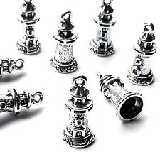8 x Silver Plated 20mm Tower Lighthouse Charms Nautical Building, Gothic Fantasy