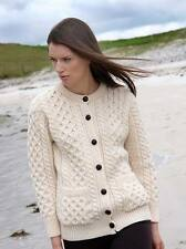 NWT - ARAN CRAFTS IRISH BUTTONED KNITTED 100% MERINO WOOL CARDIGAN SWEATER - S