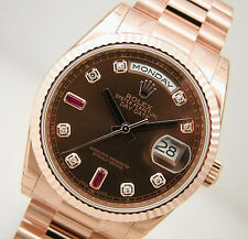 BRAND NEW MENS ROSE GOLD ROLEX PRESIDENT DAY DATE CHOCOLATE DIAMOND RUBY 118235
