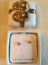 Vintage NOS Diamond 10k Yellow Gold Buttercup 6 Prong Stud Earrings NIB 3mm