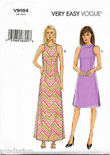 ©2016 VOGUE SEWING PATTERN 9184 MISSES SZ 6-14 A-LINE DRESS & MAXI W/ SIDE SLITS