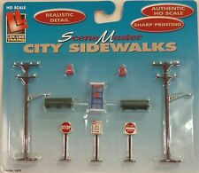 Life Like HO City Scenery Utility Poles Benchs Phone Booth Fire Hydrants Signs