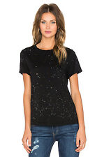 CURRENT ELLIOTT ROLLED SLEEVE BLACK SPLATTER TEE T-SHIRT SIZE 0 XS