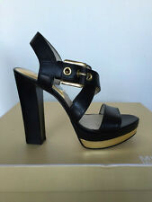 MICHAEL KORS BLACK CALDER PLATFORM SANDALS 7.5