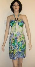 Beautiful French Short Multifloral Padded Bust Dress with Faux Gem Neck Tie NWOT