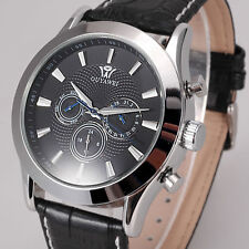 Black OUYAWEI Day Date Analog Self Winding Automatic Herren Leather Strap Watch