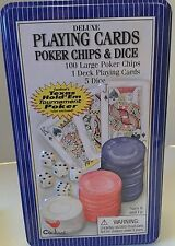 Playing cards poker chips and dice in Tin container. Deluxe Set.