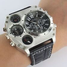 Fashion Sport Men Military Stainless Steel Dial Leather Band Quartz Wrist Watch