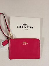 NWT Gift Box COACH CORNER ZIP WALLET WRISTLET CLUTCH PEBBLED LEATHER Pink