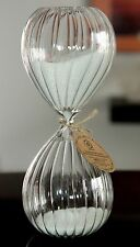⌛ MEDIUM SIZE PURE WHITE SAND HOURGLASS TIMER FANCY SWIRLS RIBBED GLASS 30 min ⌛