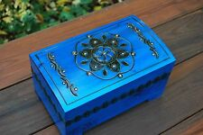 VINTAGE CARVED WOODEN LARGE JEWELLERY CHEST IN BLUE COLOR LOCK AND KEY