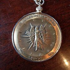 "Solid Bronze Zodiac Medal, VIRGO Aug 24-Sept 23 & 24""Gold Tone Necklace"