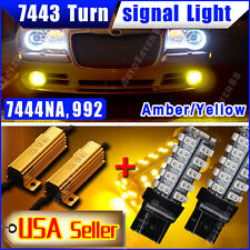 2X 7443 Amber/Yellow 68-SMD 7444NA LED Turn Signal Light+Free Load Resistors