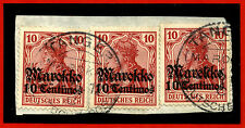 GERMANY MOROCCO, FRAGMENT 3 STAMPS OVERPRINTED MAROKKO 10 CENTIMOS EACH     m