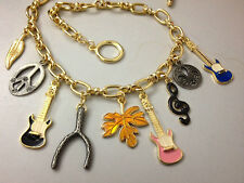 N688 BETSEY JOHNSON Bass Guitar Music Piano Treble Clef Quave Necklace US