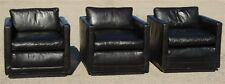 Pair of Milo Baughman Thayer Coggin 1970s Black Leather Lounge Chairs