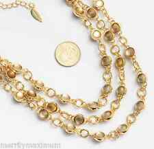 CWC Coldwater Creek Signed Necklace Gold Tone Multi Chain Amber Color Moon NWOT