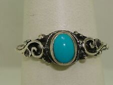 ORNATE INTAGE STERLING SILVER & TURQUOISE RING! SZ 7 1/2!